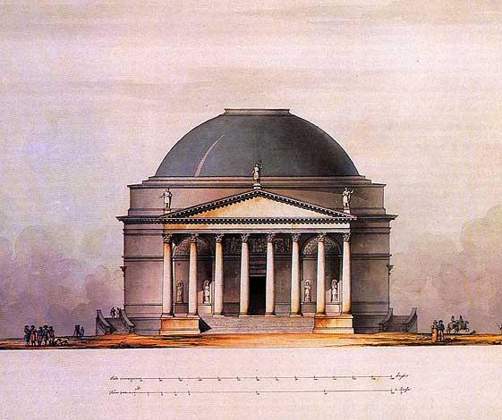 Проект храма Христа Спасителя.  Главный фасад. Архитектор Д. Кваренги.  Бумага, тушь, акварель. 1815 год