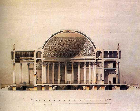 Проект храма Христа Спасителя.  Разрез. Архитектор Д. Кваренги.  Бумага, тушь, акварель. 1815 год