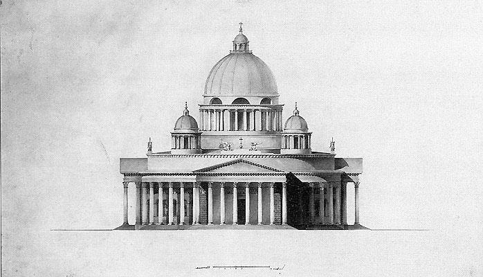 Проект храма Христа Спасителя.  Западный фасад. Архитектор А.И. Мельников.  Бумага, тушь. 1831 год