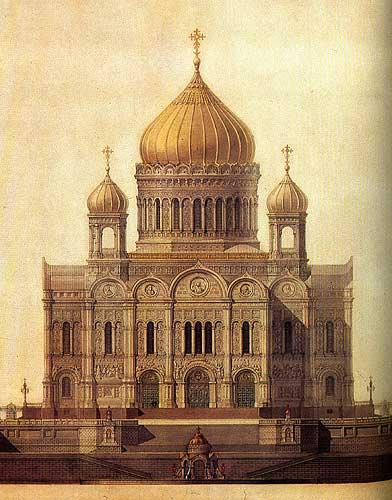 Главный фасад храма Христа Спасителя.  1832 год. Архитектор К. Тон.  Бумага, тушь, акварель, перо