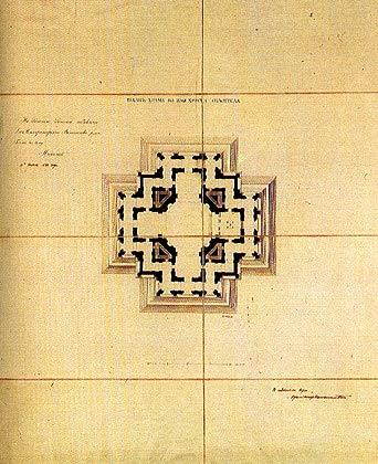 План храма Христа Спасителя.   Утвержден Императором Николаем I 10 апреля 1832 г. Архитектор К. Тон. Бумага, тушь, акварель