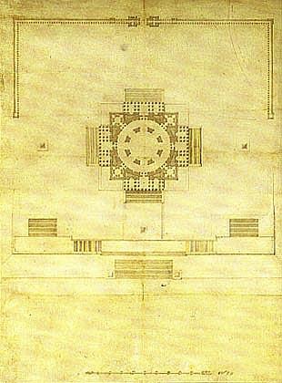 Генеральный план храма Христа Спасителя 1825 г. Архитектор А. Витберг Бумага, тушь.