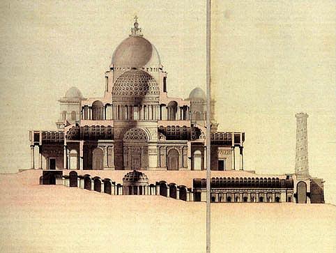 Проект храма Христа Спасителя, разрез. 1817 г. Архитектор А. Витберг Бумага, тушь, акварель.